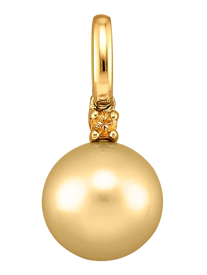 Diemer Perle Hanger met goudkleurige cultivé zoetwaterparel, Geelgoudkleur