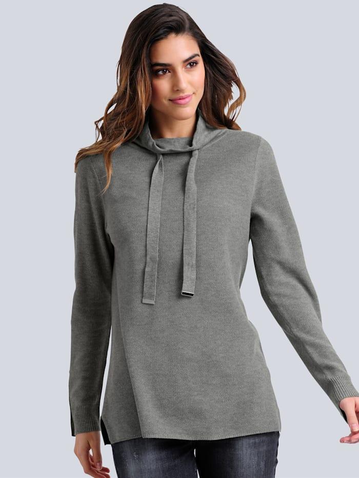 Alba Moda Pullover in modischer Strickstruktur, Grau
