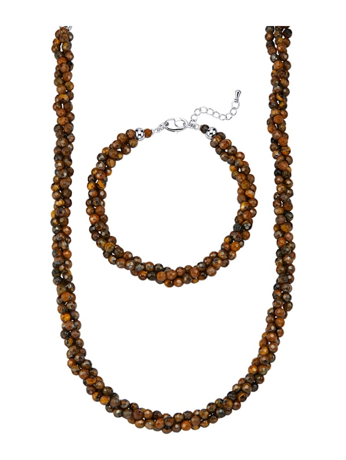 Parure de bijoux 2 pièces à perles en œil-de-tigre, Marron