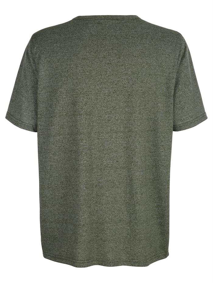 T-shirt med rund halsringning och kort knappslå
