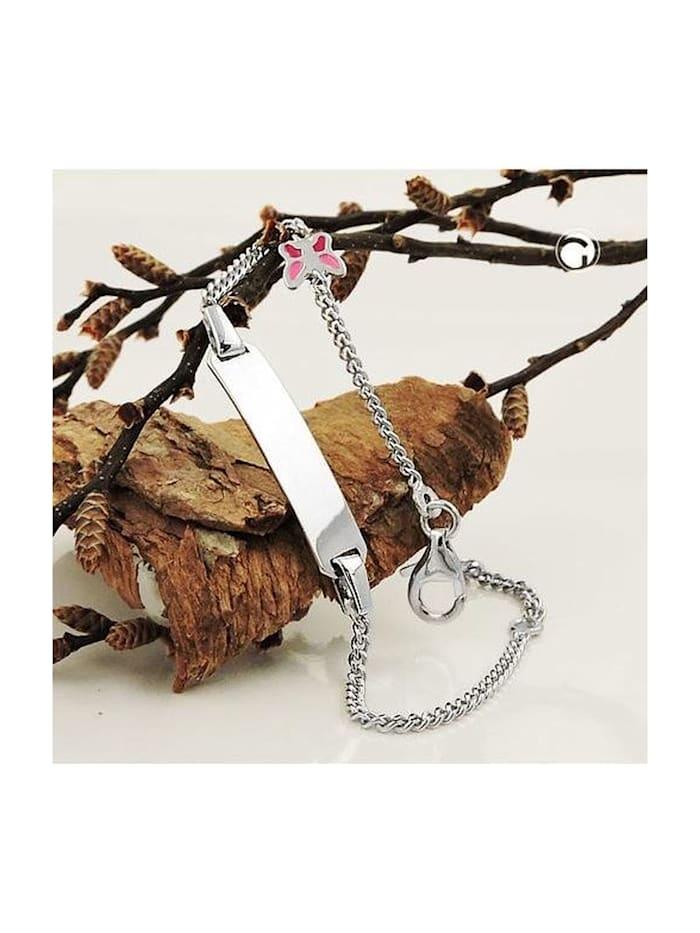 Gallay Schmuckgroßhandel Schildarmband für Kinder 1,6mm Panzerkette Gravurplatte 22x5mm und Schmetterling Silber 925 14cm, silber