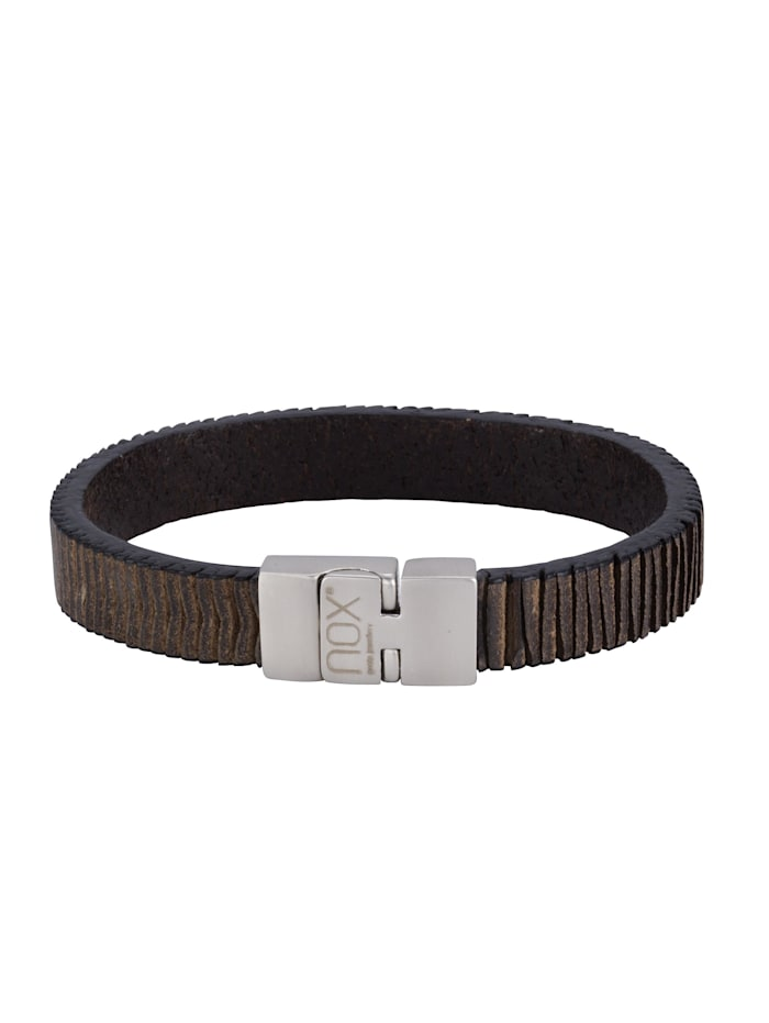 nox Armband Edelstahl 21cm Glänzend, schwarz