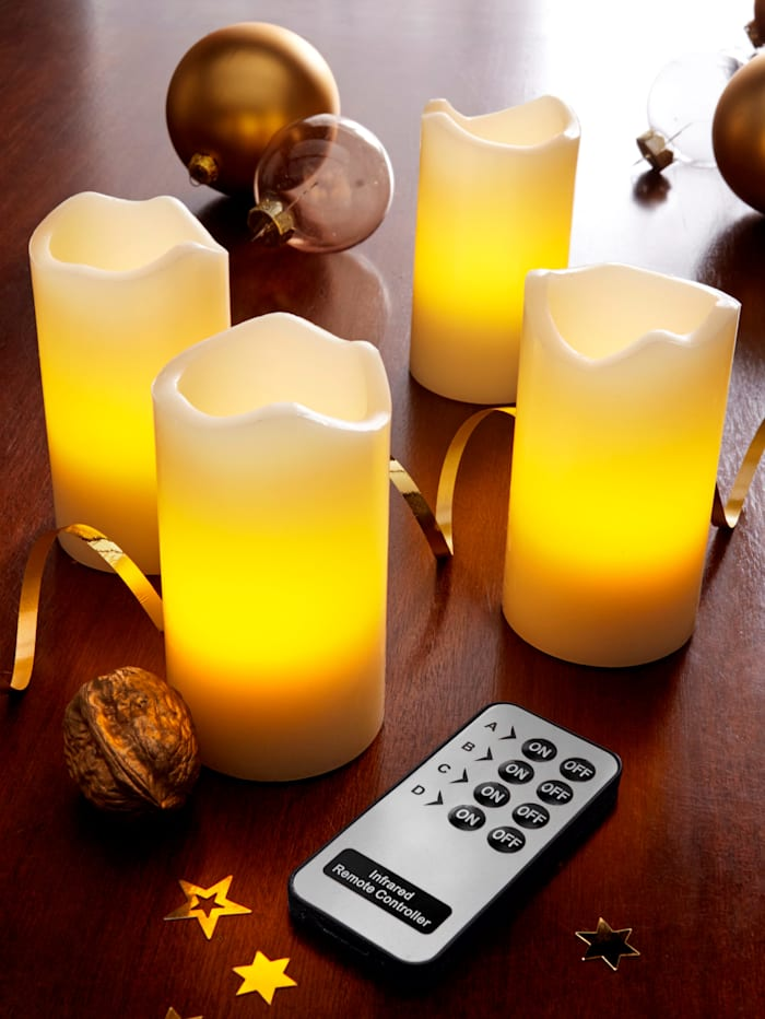 LED sviečky z pravého vosky 4 dielna súprava