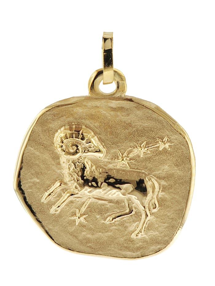trendor Sternzeichen-Anhänger Widder 333 Gold 20 mm, Goldfarben