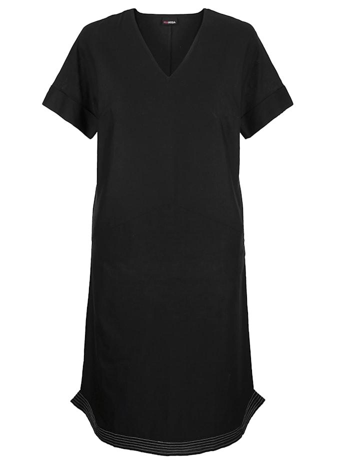 MIAMODA Šaty z mixu bavlny a ľanu, Čierna