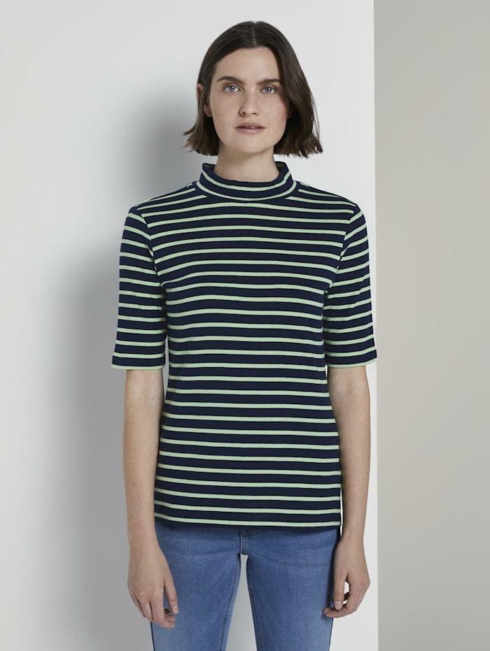 Tom Tailor Gestreiftes T-Shirt mit Rollkragen, navy pistachio stripe