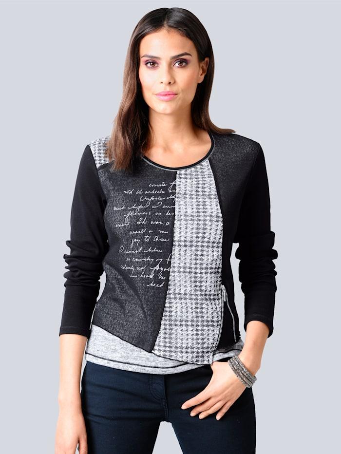 Alba Moda Shirt im Mustermix, Schwarz/Weiß/Silberfarben