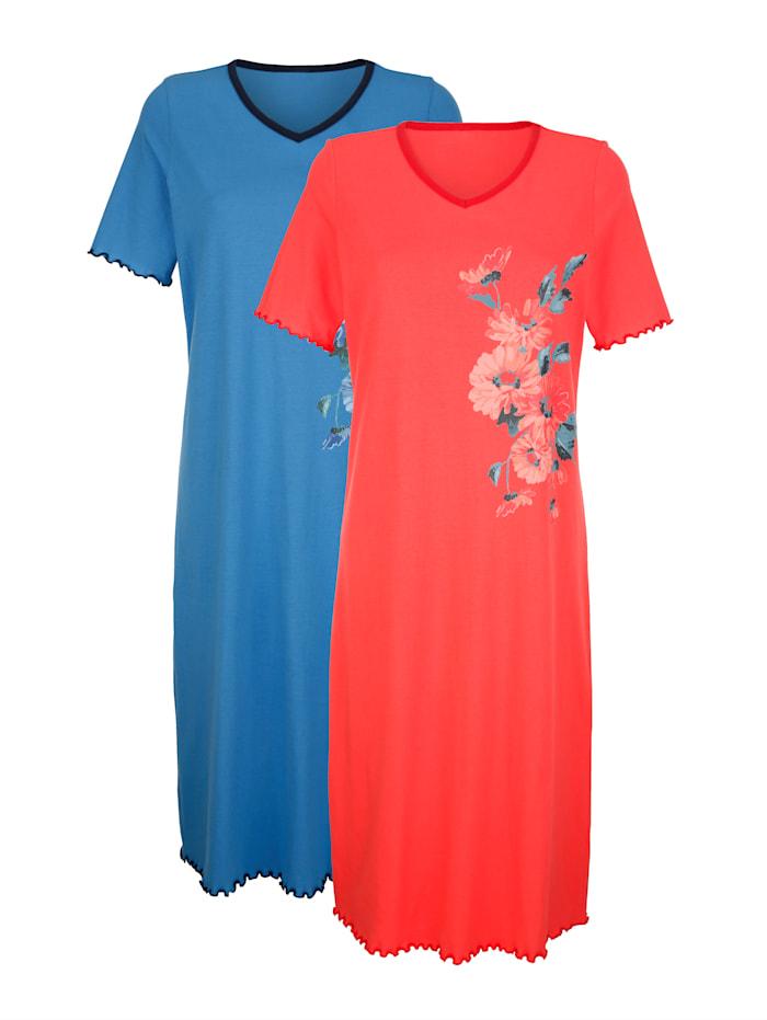Harmony Nachthemden met bloemendessin, Koraal/Blauw