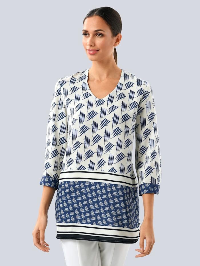 Alba Moda Bluse im Minimaldruck, navy weiss