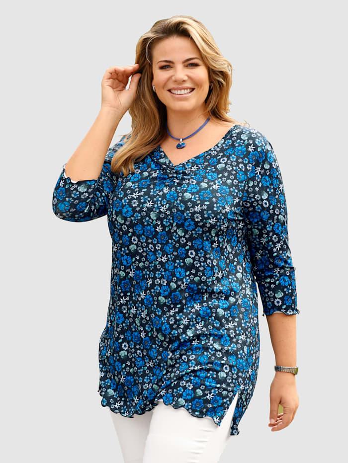 m. collection Longshirt mit floralem Druckdessin, Marineblau/Mintgrün