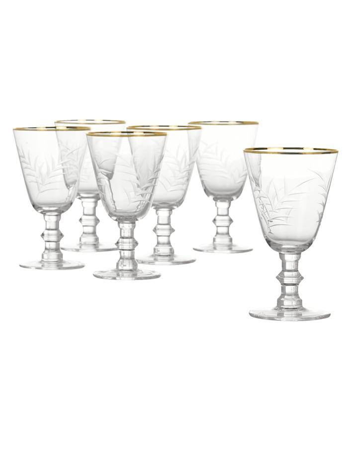 IMPRESSIONEN living Lot de verres à vin, Transparent/doré