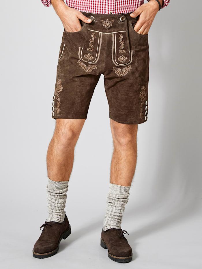 Men Plus Kurze Trachten-Lederhose Regular Fit, Braun