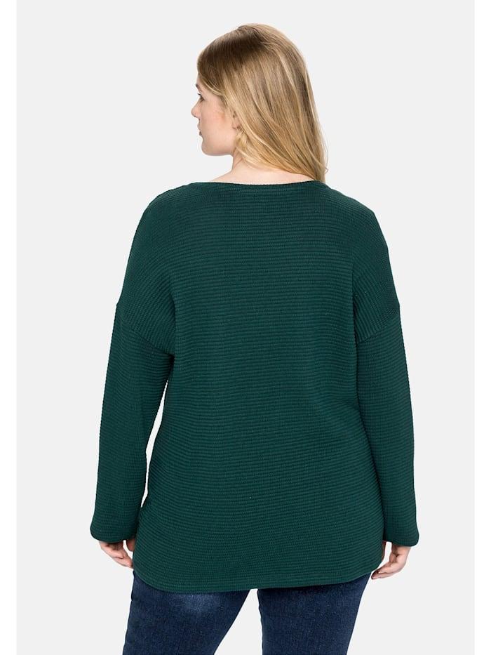 Sweatshirt mit U-Boot-Ausschnitt, in Strukturqualität