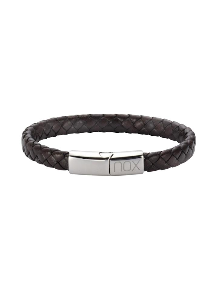 nox Armband Edelstahl 21,5cm Glänzend, dunkelbraun