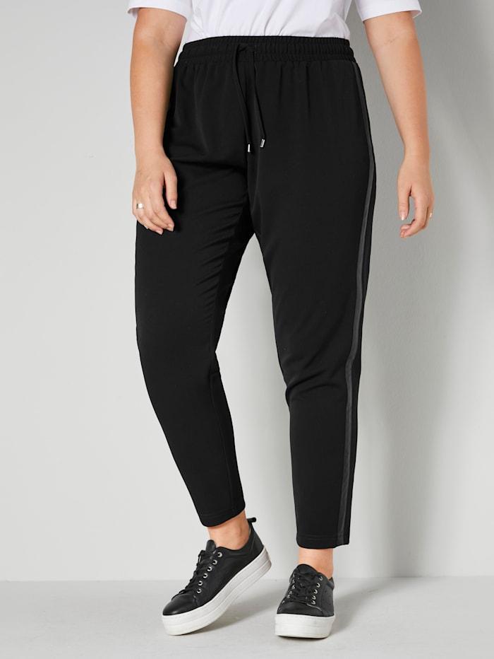 Sara Lindholm Jog nohavice na bokoch s dekoratívnym pásom, Čierna