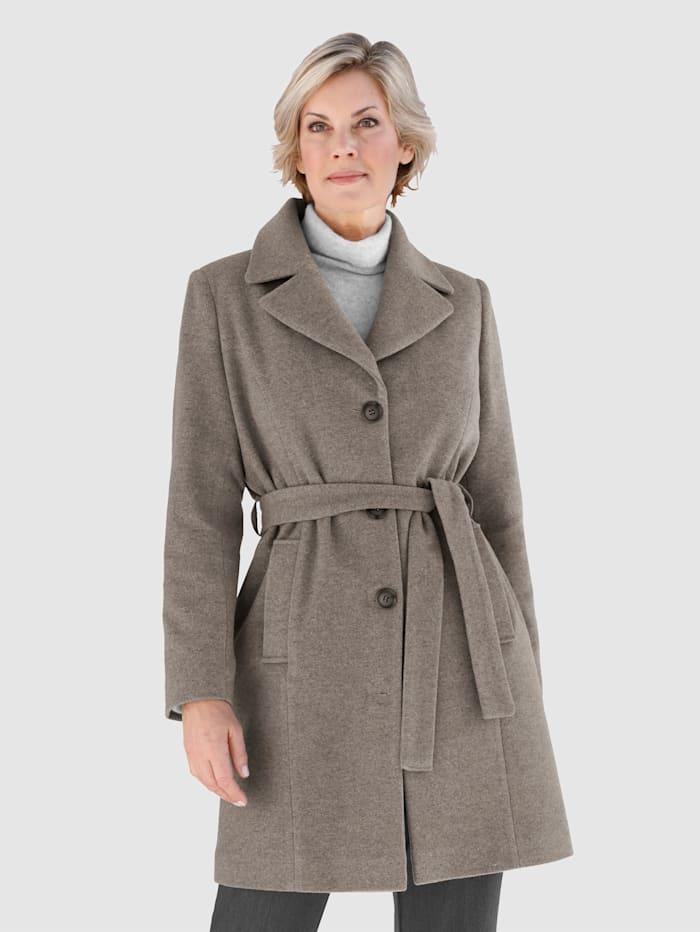 Paola Manteau en laine mélangée avec ceinture à nouer, Taupe