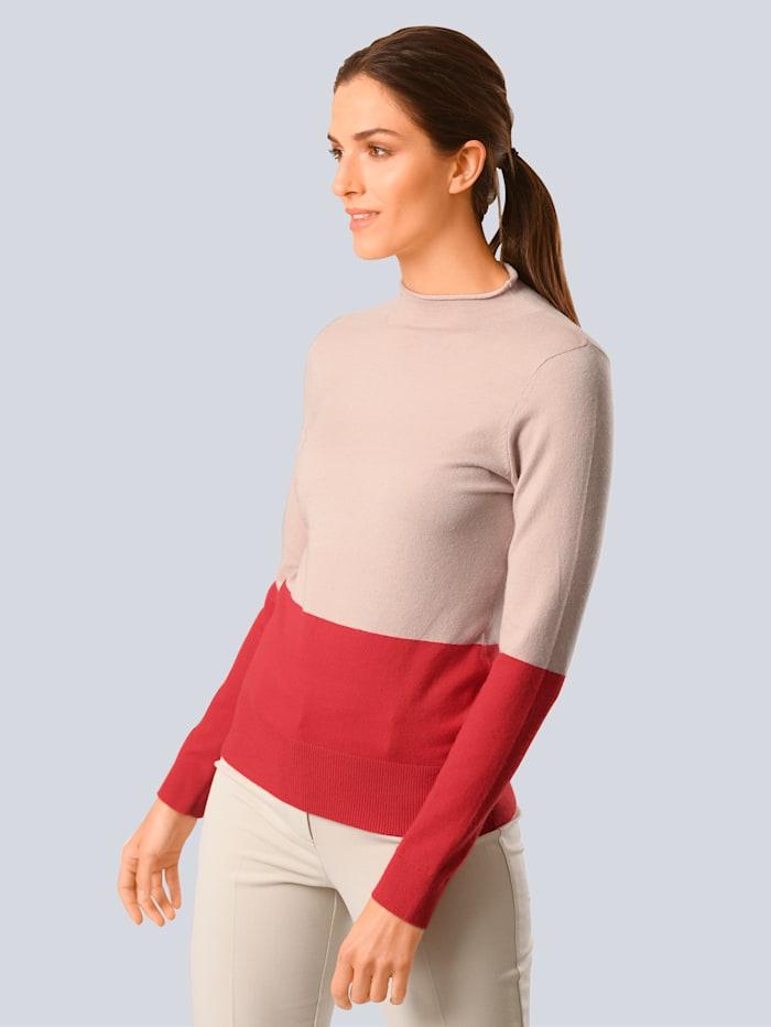 Alba Moda Pullover im modischen Colourblocking, Nude/Koralle