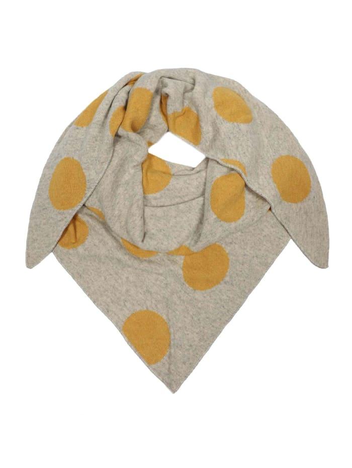 Zwillingsherz Dreieckstuch Punkte mit Kaschmir, beige/gelb