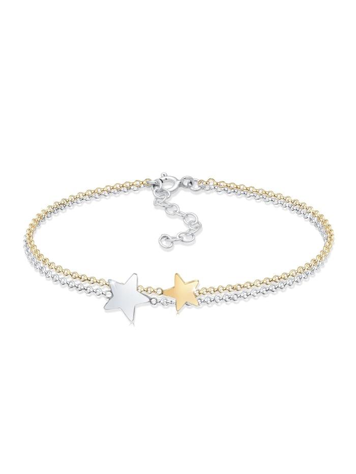 Elli Armband Bi-Color Astro Layer Sterne Erbskette 925Er Silber, Silber