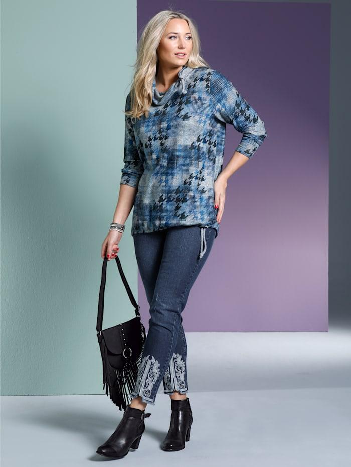 MIAMODA Jeans mit kontrastfarbener Stickerei am Saum, Blue stone