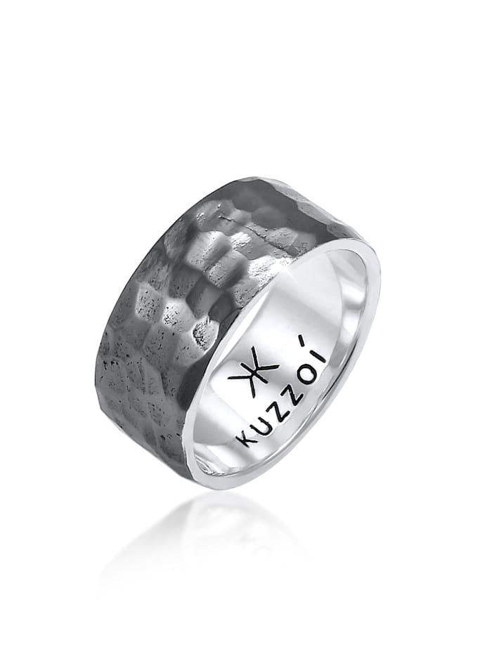 Kuzzoi Ring Herren Bandring Gehämmert 925 Sterling Silber, Silber