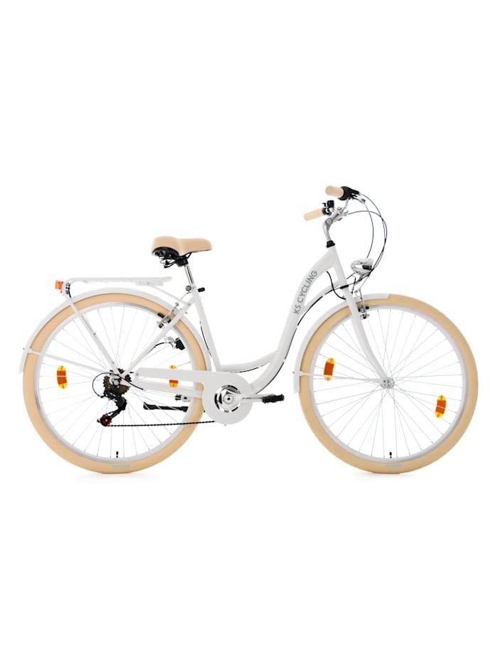KS Cycling Damenfahrrad Cityrad 6-Gänge Balloon 28 Zoll, weiß