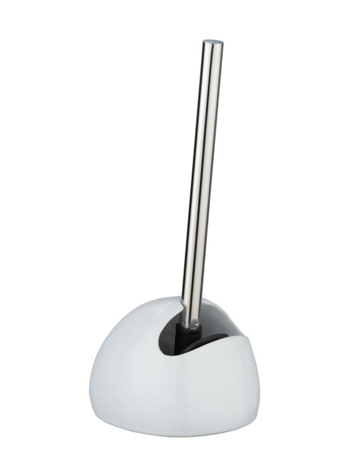 Wenko WC-Garnitur Rimless Neo weiß, Keramik, Silikonbürste, Behälter: Weiß, Silikon-Schaber: Schwarz, Stiel: Glänzend