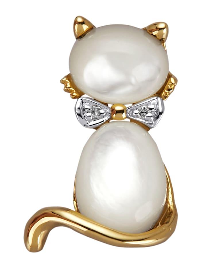 AMY VERMONT Pendentif Chat avec diamants, Coloris or jaune/Coloris nacre