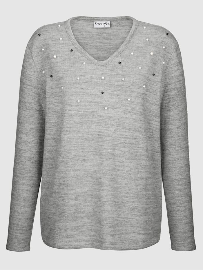 Sweat-shirt avec perles fantaisie
