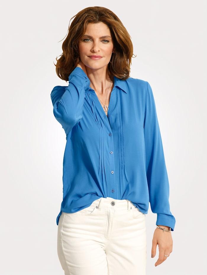 MONA Bluse mit Zierbiesen, Blau