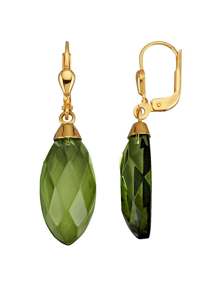 Diemer Farbstein Ohrringe in Gelbgold 585, Grün