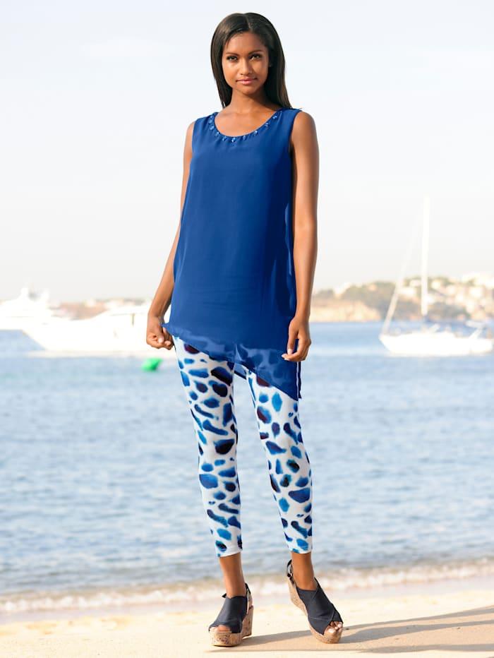 Alba Moda Legging in 7/8 Länge, Weiss-Blau