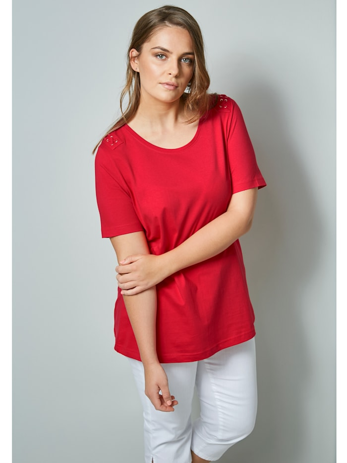 Janet & Joyce Shirt mit dekorativen Ösen, Rot