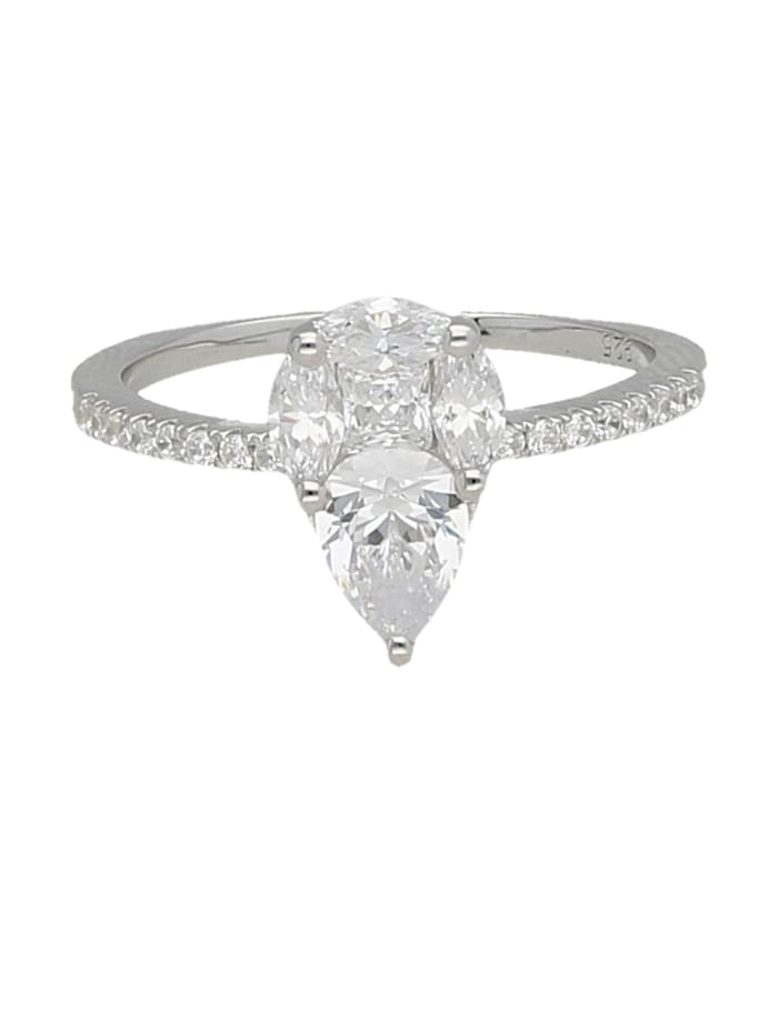 Smart Jewel Ring Zirkonia Steine, glanz, Silber 925, Weiss