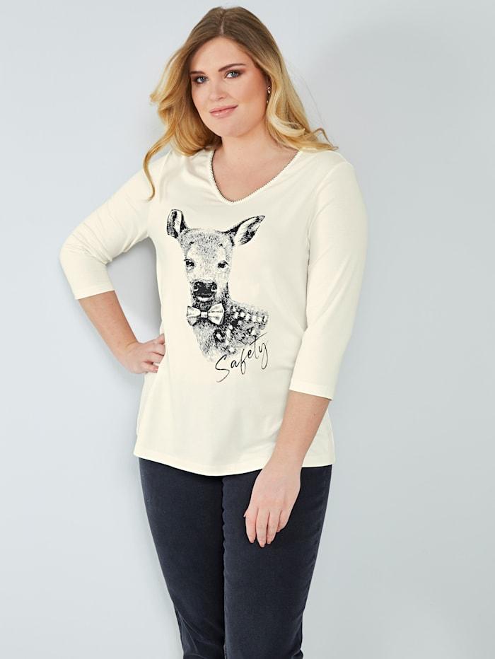 Sara Lindholm Shirt mit Rehkitzmotiv, Off-white/Schwarz