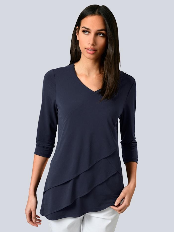 Alba Moda Shirt mit diagonalen Lagen im Vorderteil, Marineblau