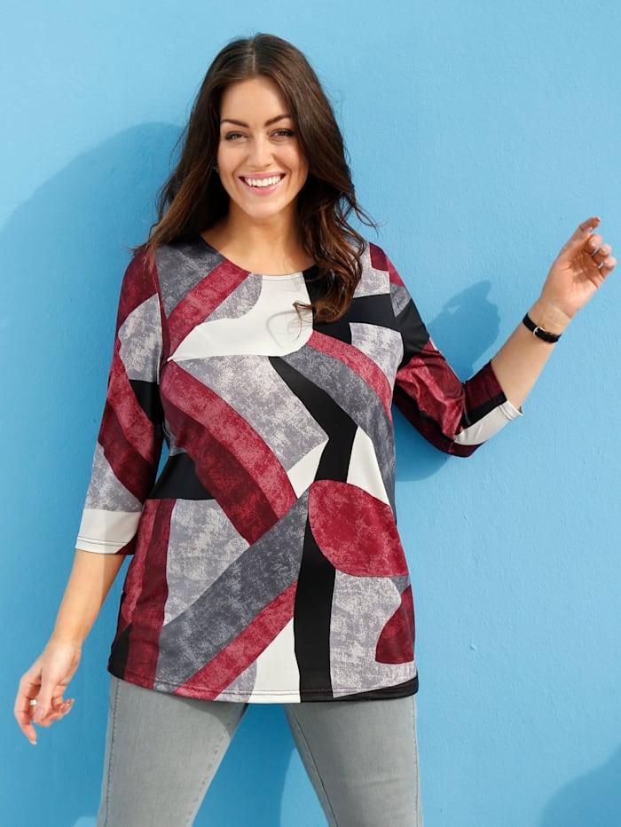 m. collection Shirt mit grafischem Muster rundum, Bordeaux/Grau/Weiß