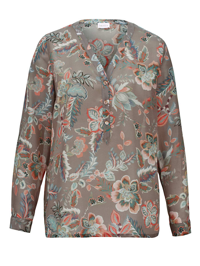 Silk blouse with a floral print
