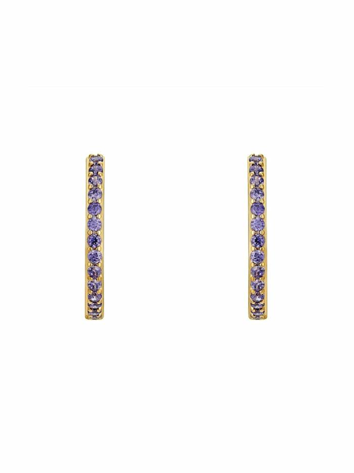 Creolen für Damen, Silber 925 vergoldet  Zirkonia lila