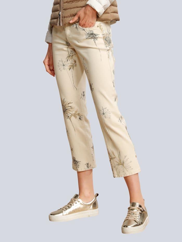 CAMBIO Jeans im dezenten Blumendessin, Ecru