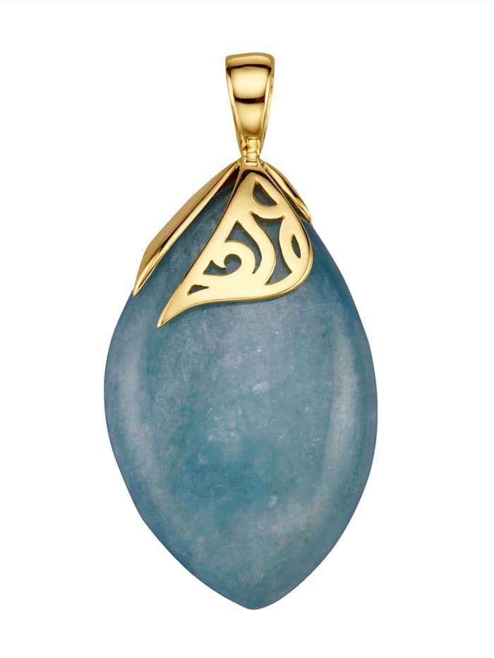 Amara Farbstein Anhänger mit Aquamarin, Blau