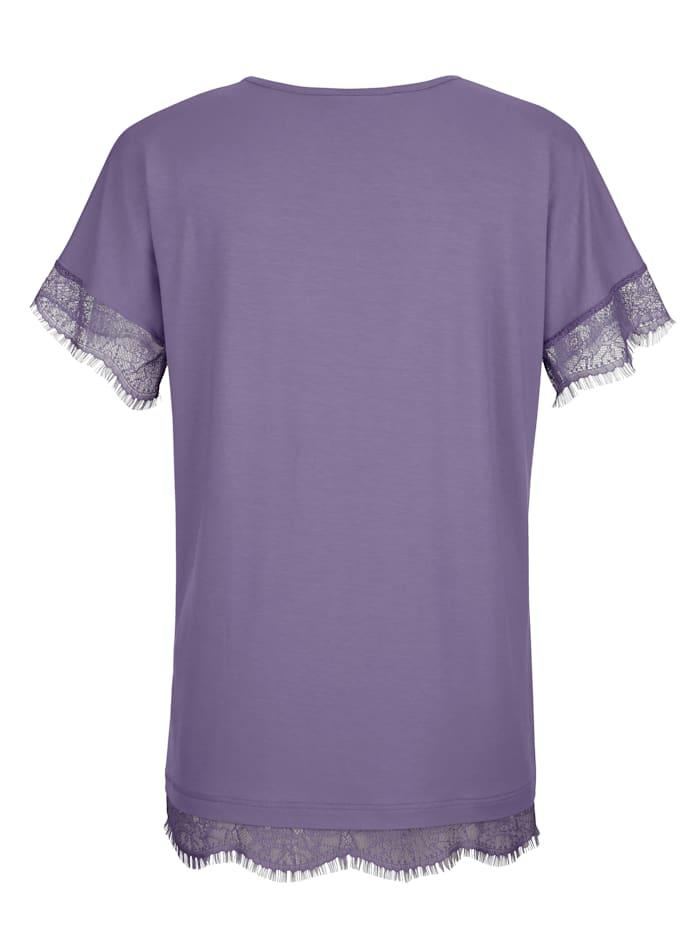 Shirt mit Spitzenbogenkante an Ärmeln und Saum