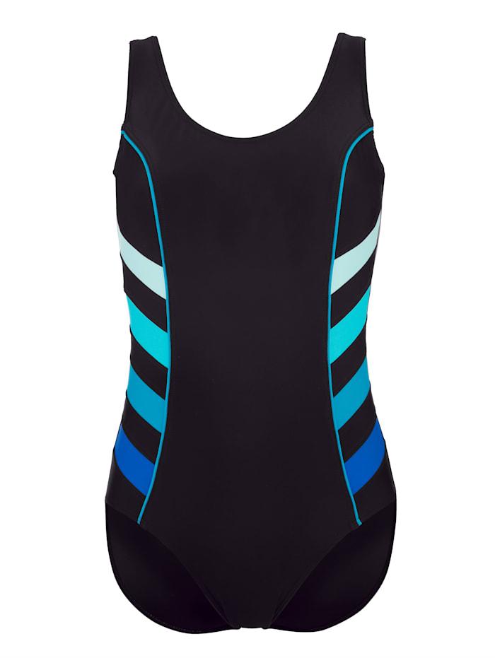 Maritim Badeanzug mit dekorativen Streifeneinsätzen, Schwarz/Blau