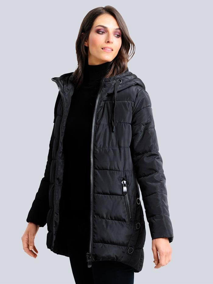 Alba Moda Steppjacke mit stylisch markantem Reißverschluss, Schwarz