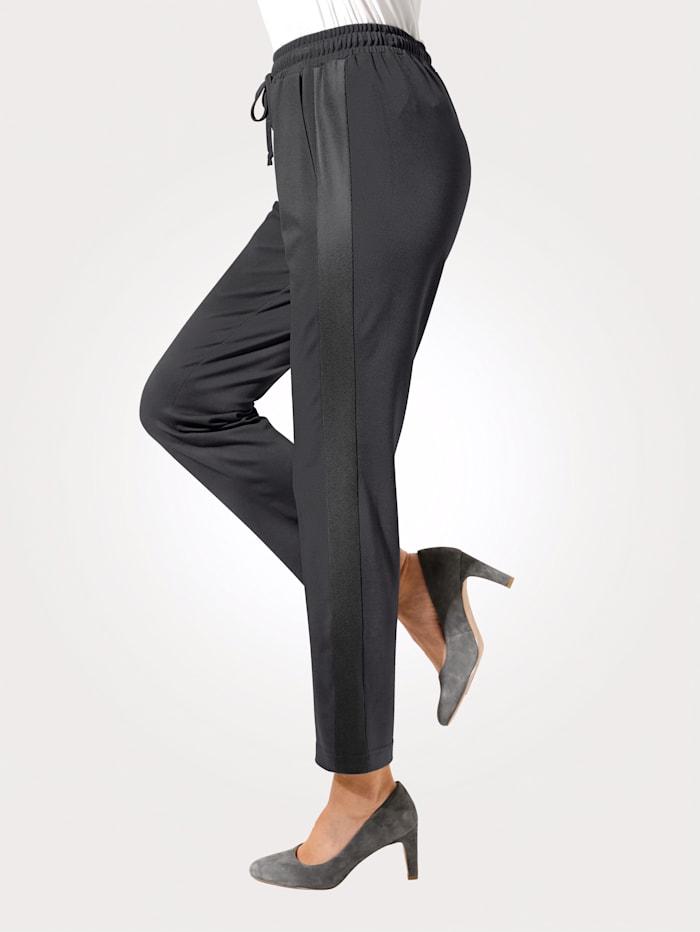 MONA Pantalon à taille élastiquée avec empiècement en simili sur les côtés, Gris