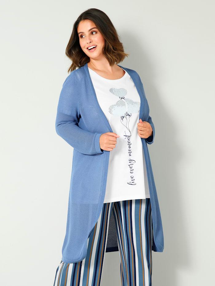 Sara Lindholm Pletený kabát z čisté bavlny, Modrá