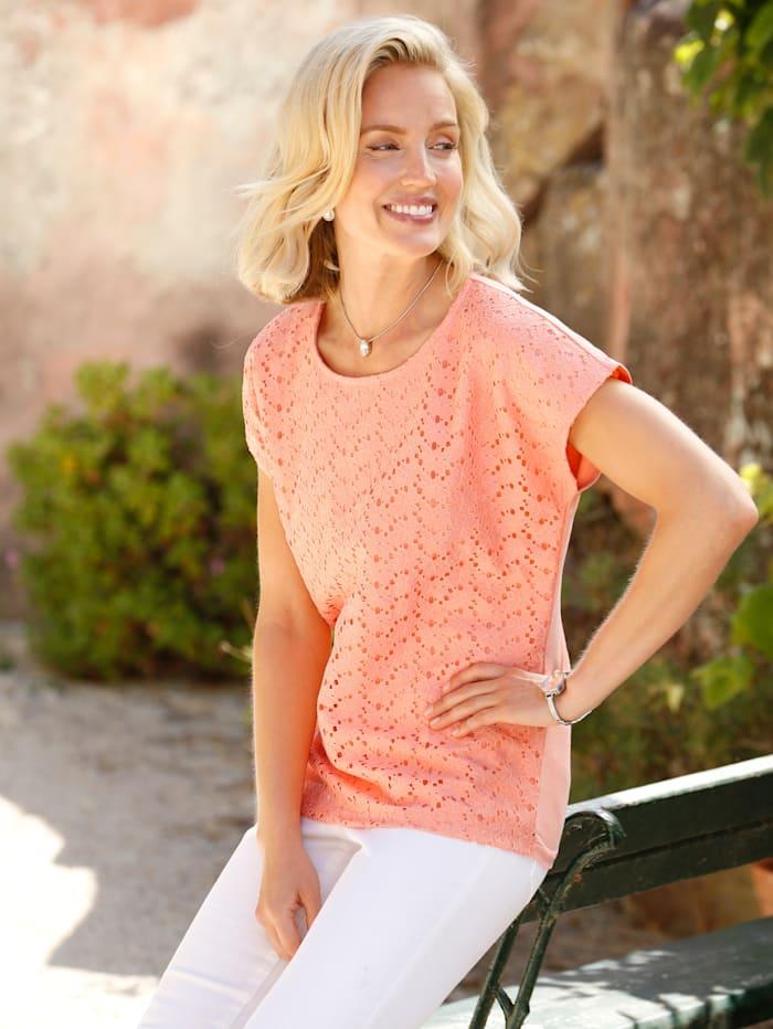 Paola Shirt mit floraler Spitze im Vorderteil, Apricot