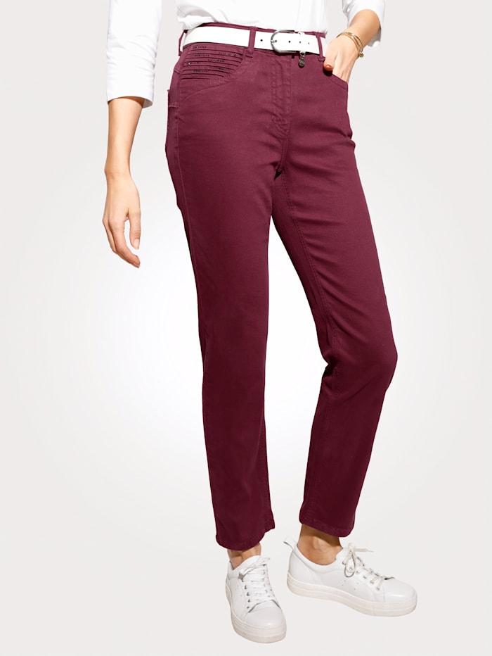 MONA Jeans mit Zierbiesen und Strasssteinchen, Bordeaux