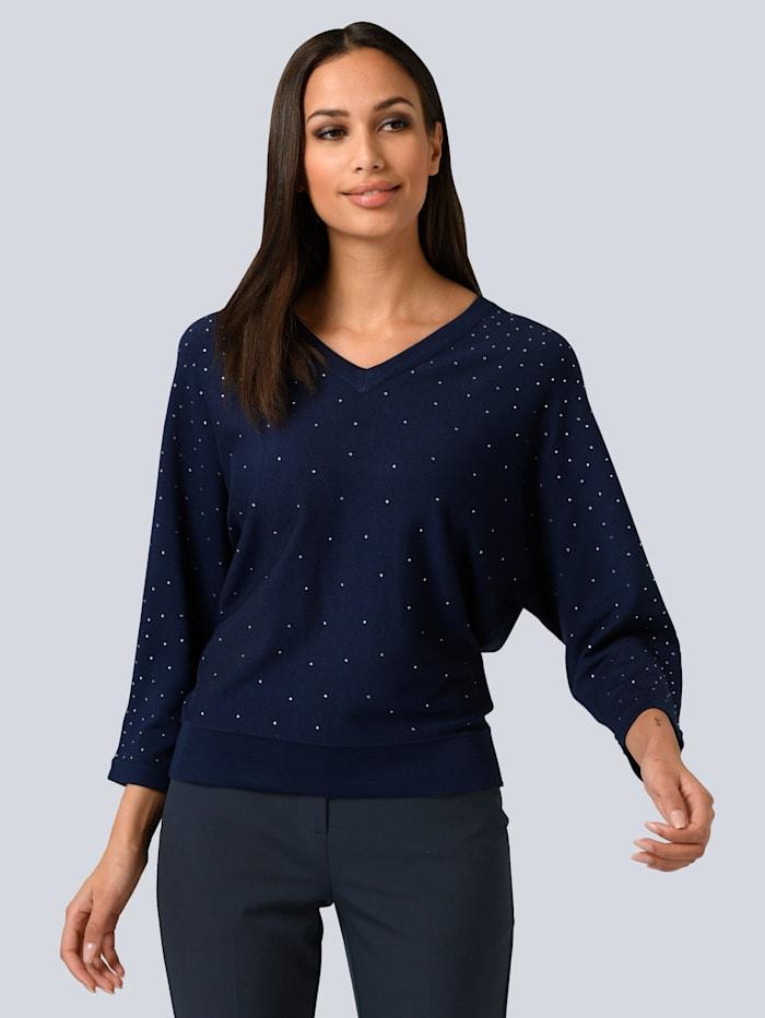 Alba Moda Pullover aufwendig mit Klebepailletten verziert, Marineblau