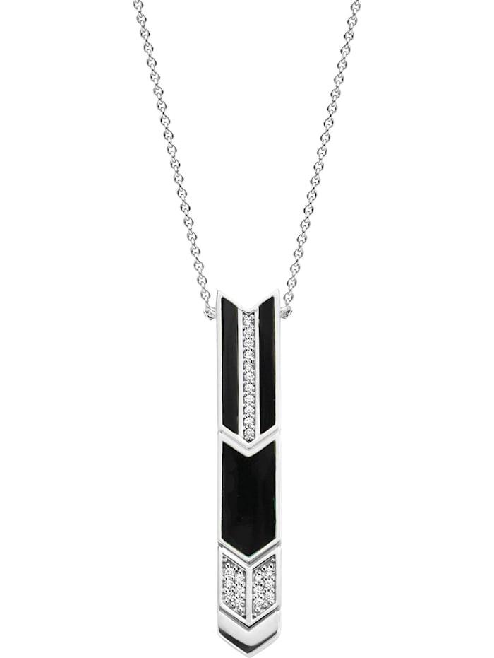 Ti Sento Milano Ti Sento - Milano Damen-Kette 925er Silber Farbstein, silber/schwarz